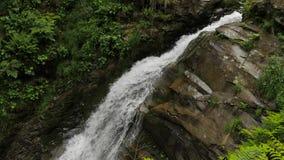 Падая вода, утесы и зеленая растительность сток-видео