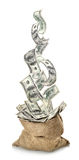 Падая доллары в мешке Стоковые Изображения