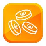 Падая евро чеканит значок Желтая кнопка r бесплатная иллюстрация