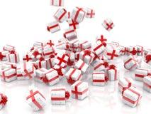 Падая изолированные подарочные коробки рождества стоковые изображения rf