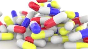 Падая красочные капсулы лекарства или пилюльки, отмелый фокус перевод 3d Стоковые Изображения