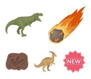 Падая метеорит, parasaurolophus, тиранозавр, отпечаток ноги ` s динозавра Динозавр и доисторический период Стоковое Изображение RF