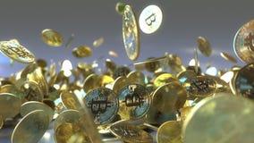 Падая перевод знаков внимания 3D bitcoin Стоковые Фото