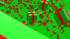 Падая подарочные коробки в красных и зеленых цветах иллюстрация штока