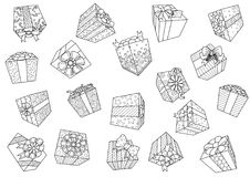 Падая подарочные коробки изолированные на белой предпосылке для элемента дизайна также вектор иллюстрации притяжки corel Стоковое Изображение