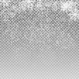 Падая сияющие снежинки и снег на прозрачной предпосылке Предпосылка рождества, зимы и Нового Года реалистическо иллюстрация штока