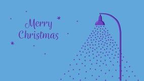 Падая снег освещенный уличным фонарем Рождественская открытка стиля шаржа плоская звезды ночного неба Предпосылка сини вектора иллюстрация вектора