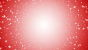 Падая снег с красной предпосылкой рождества сток-видео