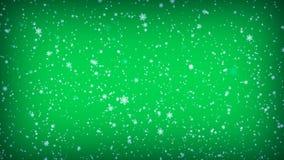 Падая снежинки на зеленой предпосылке Иллюстрация Кристмас стоковое изображение rf