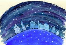 падая снежок домов Стоковые Фотографии RF