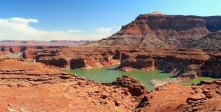 Падая уровни воды на северном мытье на озере Пауэлл, рекреационной зоне каньона Глена национальной, Юте стоковые изображения rf