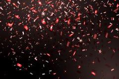 Падая Confetti сияющего яркого блеска красный изолированный на черной предпосылке Рождество или счастливый Confetti Нового Года Стоковые Фото