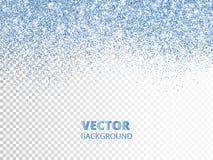 Падая confetti яркого блеска Голубая пыль вектора, взрыв изолированная на прозрачной предпосылке Сверкная граница яркого блеска Стоковые Изображения