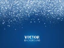 Падая confetti яркого блеска, снег Пыль вектора, взрыв на голубой предпосылке Стоковое фото RF
