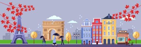 Падение в Париж Иллюстрация вектора городского пейзажа, Эйфелевой башни, триумфального свода, старых зданий Перемещение осени к Ф иллюстрация штока