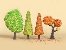 падение дерева мультфильма перевода 3d низкие поли/природа осени иллюстрация штока