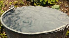 Падение дождевой воды внутри стального ведра сток-видео
