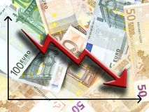 падение евро Стоковое фото RF