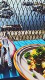Падение, еда, восход солнца, Carbonara, портовый район, terress стоковая фотография