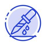 Падение, капельница, медицинская, линия значок голубой пунктирной линии медицины иллюстрация вектора