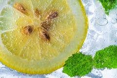 Падение лимона в газированной сверкная воде, соке Стоковое Изображение