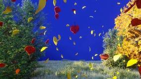 Падение листьев осени от деревьев в парке осени Парк осени красочный на солнечный день перед голубым экраном 3d иллюстрация штока