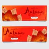 Падение листьев осени с красной оранжевой предпосылкой шаблон предложения продажи Шаблон плаката шаблон знамени также вектор иллю иллюстрация вектора