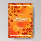 Падение листьев осени с оранжевой предпосылкой шаблон предложения продажи Шаблон плаката шаблон знамени также вектор иллюстрации  иллюстрация вектора