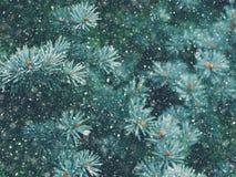 Падение снега в волшебство рождества леса зимы Стоковая Фотография