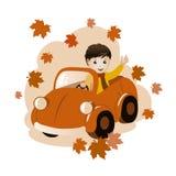 падение состава автомобиля мальчика иллюстрация штока