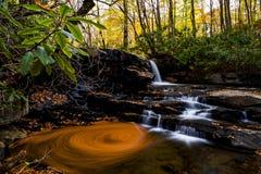 Падения бега Fechter - водопад & цвета осени - парк штата Ohiopyle, Нью-Йорк стоковые фотографии rf