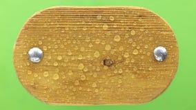 Падения падения воды на деревянную доску с заклепками утюга Изолировано на зеленой предпосылке сток-видео