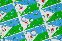 Падения дождя вполне флагов Джибути Стоковое Изображение
