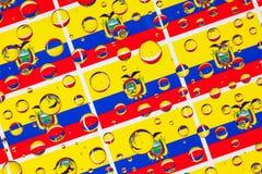 Падения дождя вполне флагов эквадора Стоковое Изображение