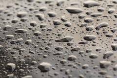 Падения падения дождя или воды на клобуке автомобиля Дождь падает o стоковое фото rf