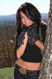падения способа женщина outdoors сексуальная Стоковая Фотография