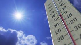 Падения температур до -10 минус 10 градусов стоградусного, конец-вверх термометра 3D анимация прогноза погоды родственная бесплатная иллюстрация