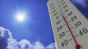Падения температур до -20 минус 20 градусов стоградусного, конец-вверх термометра 3D анимация прогноза погоды родственная иллюстрация штока