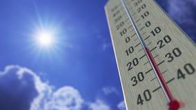 Падения температур до -30 минус 30 градусов стоградусного, конец-вверх термометра 3D анимация прогноза погоды родственная иллюстрация вектора