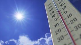 Падения температур до 0 нул, конец-вверх термометра 3D анимация прогноза погоды родственная бесплатная иллюстрация