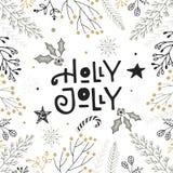 Падуб весёлый - вручите вычерченную литерность рождества с флористическим и украшениями Милое искусство зажима Нового Года также  иллюстрация вектора