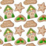 Падуб весёлый и figurines пряника дома vector картина Картина пряника рождества безшовная Стоковое Изображение