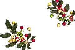 падуб рождества ягоды шариков Стоковая Фотография