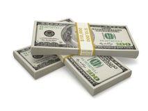 3 пакета 100 долларовых банкнот Стоковая Фотография