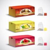 Пакетики чая упаковывая реалистический комплект стоковое фото rf