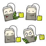Пакетики чая шаржа Комические персонажи шаржа вектора Стоковые Изображения