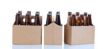 6 пакетов стекла разлили пиво по бутылкам в родовом коричневом carri картона Стоковые Изображения RF