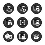 Пакет значка средств массовой информации на черной предпосылке вектор Стоковая Фотография