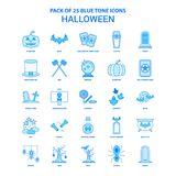 Пакет значка тона хеллоуина голубой - 25 наборов значка иллюстрация штока
