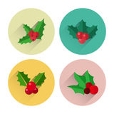 Пакет значка ягоды падуба рождества плоский с длинной тенью Стоковые Фотографии RF